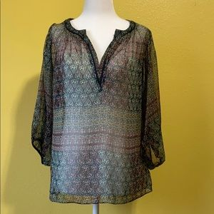 Anthropologie Maeve Sheer Printed Blouse size M